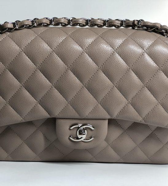 ff0cd3c6365f30 Chanel 14B Beige Taupe Jumbo Double Flap Bag brand new kept unused - Reetzy